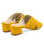 Mule mit Raffung Gelb – modischer und bequemer Schuh für Hallux valgus und empfindliche Füße von LaShoe.de
