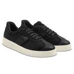 Sneaker Retro mit Kroko-Detail Schwarz – modischer und bequemer Schuh für Hallux valgus und empfindliche Füße von LaShoe.de