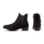 Chelseabootie mit Rüschen Schwarz – modischer und bequemer Schuh für Hallux valgus und empfindliche Füße von LaShoe.de