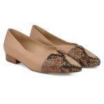 Ballerina mit Kontrastspitze Nude – modischer und bequemer Schuh für Hallux valgus und empfindliche Füße von LaShoe.de
