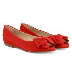 Peeptoe Ballerina mit Schleife Rot – modischer und bequemer Schuh für Hallux valgus und empfindliche Füße von LaShoe.de