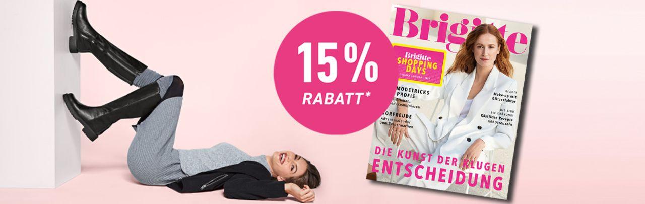 Mit der BRIGITTE Shopping Card jetzt -15%* auf das gesamte Sortiment sichern. Erfahren Sie hier, wie Sie den Rabattcode erhalten.