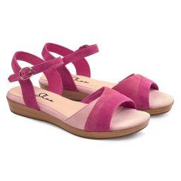 Sandale auf Mini-Keilabsatz Pink