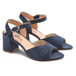 Sandale mit Metallicdetail Jeansblau