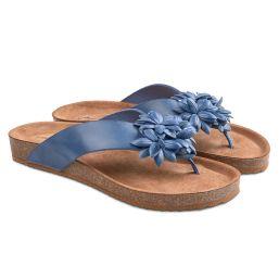Flip Flop mit Blüten Blau