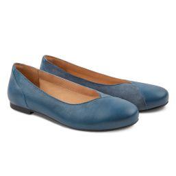 Ballerina Materialmix Jeansblau