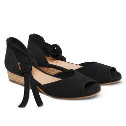 Sandale auf Bast-Keilabsatz Schwarz