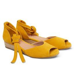 Sandale auf Bast-Keilabsatz Gelb