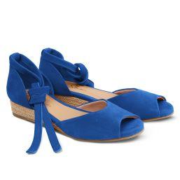 Sandale auf Bast-Keilabsatz Royalblau
