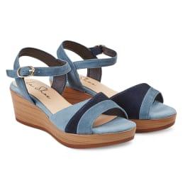 Sandale auf Keilabsatz Jeansblau