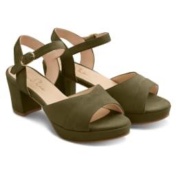 Sandale mit Plateauabsatz Khaki