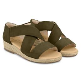 Sandale mit Keilabsatz und Kreuzriemen Khaki