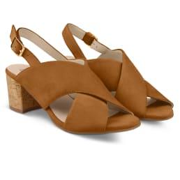 Sandalette mit Korkabsatz Cognac