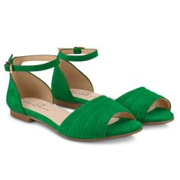 Sandale mit gefaltetem Riemchen Grün
