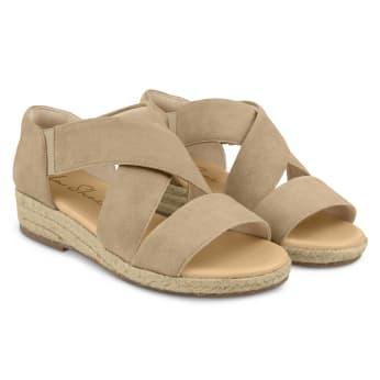 Sandale mit Keilabsatz und Kreuzriemen Beige