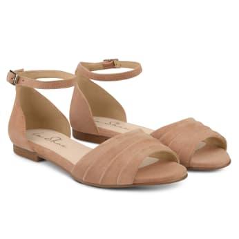 Sandale mit gefaltetem Riemchen Nude
