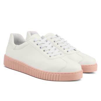 Sneaker Retro mit Kontrastsohle Weiß
