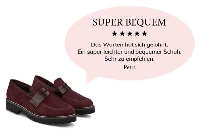 """Eine Kundin schwärmt von unseren Loafern: """"Super bequem"""""""