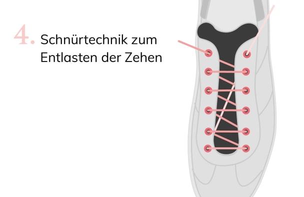 Mit der Schnürtechnik zum Entlasten der Zehen üben Sie noch weniger Druck auf Ihren Hallux valgus aus.