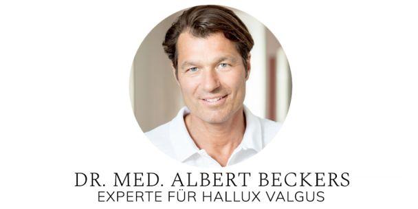 Unser Experte für Hallux valgus Dr. med. Albert Beckers, Facharzt für Orthopädie, Akupunktur, Sportmedizin und Chirotherapie und Ihr Experte für Hallux valgus. Sein Therapieschwerpunkt liegt auf der Behandlung akuter und chronischer Schmerzen.