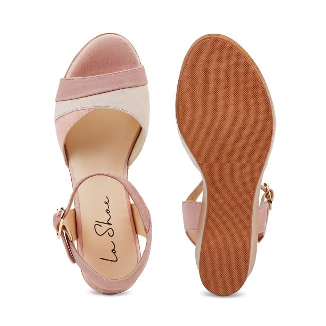 Sandale auf Keilabsatz Rosé – modischer und bequemer Schuh für Hallux valgus und empfindliche Füße von LaShoe.de