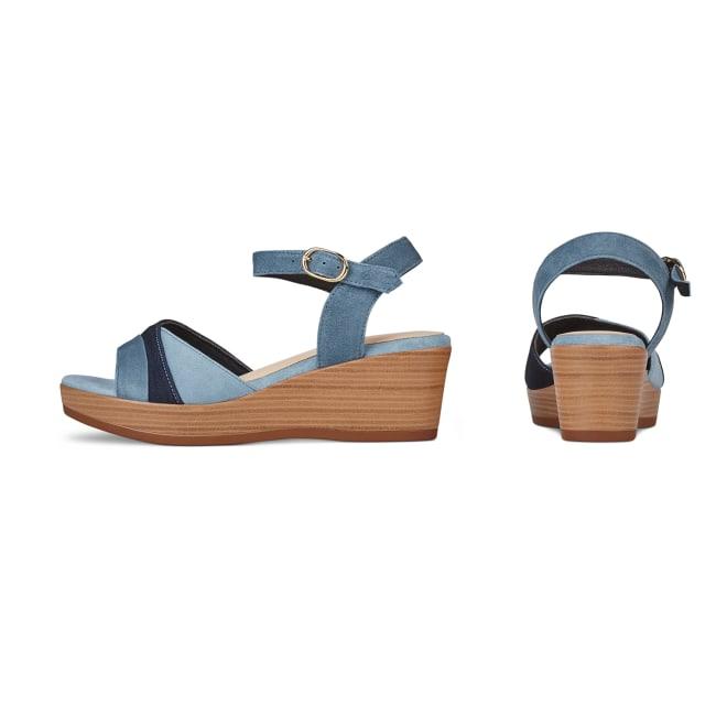 Sandale auf Keilabsatz Jeansblau – modischer und bequemer Schuh für Hallux valgus und empfindliche Füße von LaShoe.de