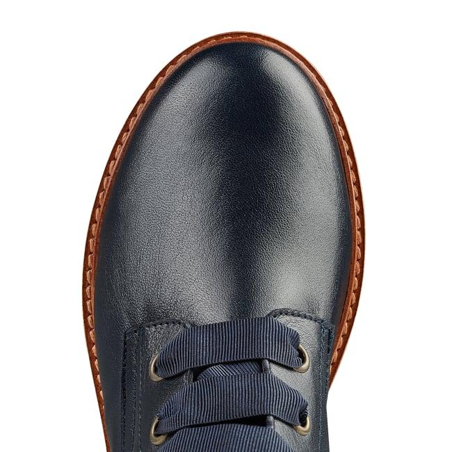 Schnürboot auf Plateausohle Marine – modischer und bequemer Schuh für Hallux valgus und empfindliche Füße von LaShoe.de