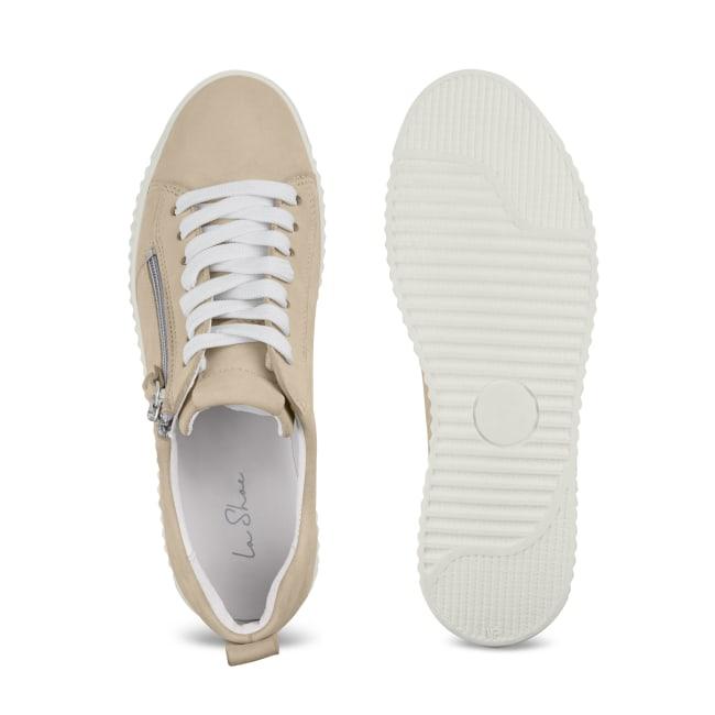 Sneaker Retro mit Zipper Beige – modischer und bequemer Schuh für Hallux valgus und empfindliche Füße von LaShoe.de