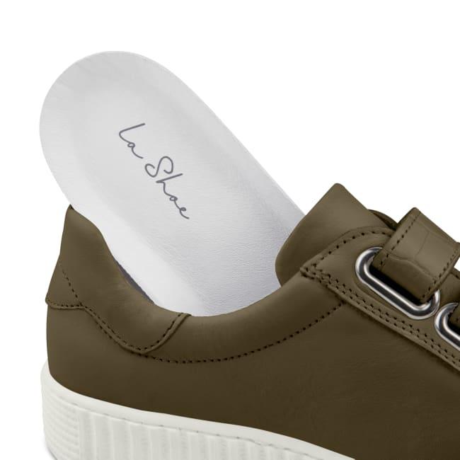 Sneaker Retro mit Klettverschluss Khaki – modischer und bequemer Schuh für Hallux valgus und empfindliche Füße von LaShoe.de