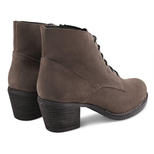 Schnürboot auf Profilsohle Taupe – modischer und bequemer Schuh für Hallux valgus und empfindliche Füße von LaShoe.de