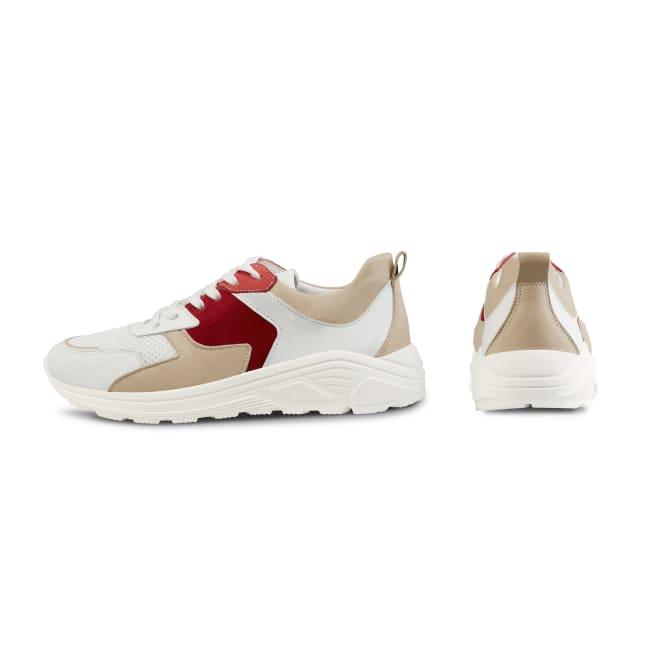 Chunky Sneaker Beige/Rot – modischer und bequemer Schuh für Hallux valgus und empfindliche Füße von LaShoe.de