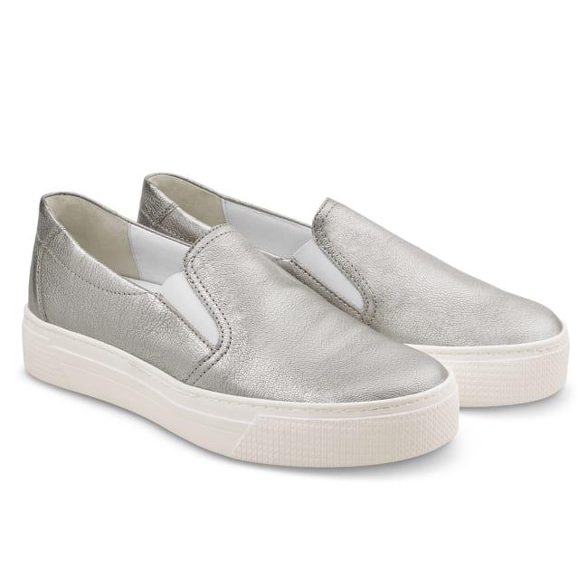 Slipper auf Plateausohle Silber – modischer und bequemer Schuh für Hallux valgus und empfindliche Füße von LaShoe.de