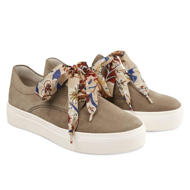 Schnürschuh auf Plateausohle Taupe – modischer und bequemer Schuh für Hallux valgus und empfindliche Füße von LaShoe.de