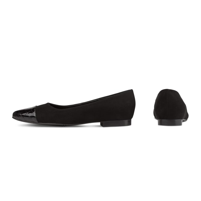 Ballerina mit Kroko-Spitze Schwarz – modischer und bequemer Schuh für Hallux valgus und empfindliche Füße von LaShoe.de