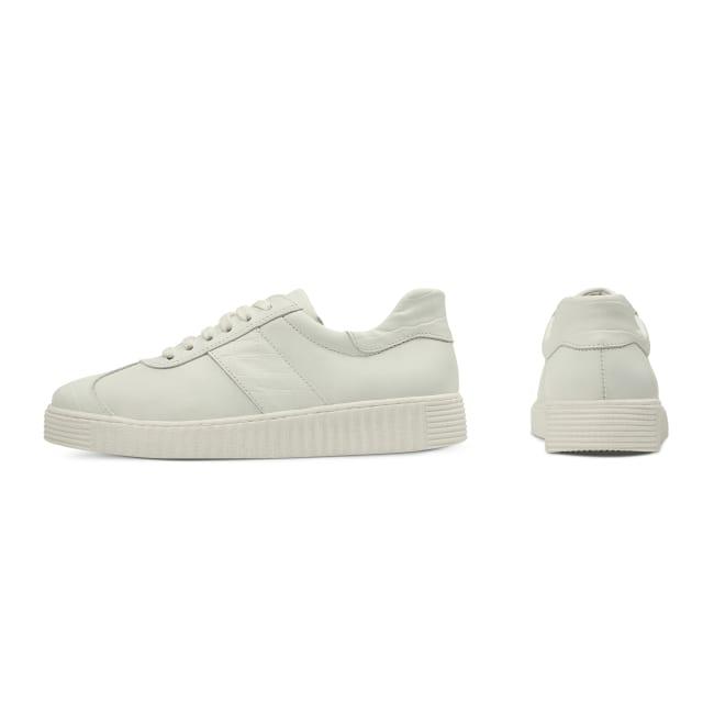 Sneaker Retro mit Kroko-Detail Weiß – modischer und bequemer Schuh für Hallux valgus und empfindliche Füße von LaShoe.de