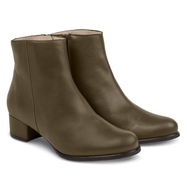 Stiefelette auf Blockabsatz Glattleder Khaki – modischer und bequemer Schuh für Hallux valgus und empfindliche Füße von LaShoe.de