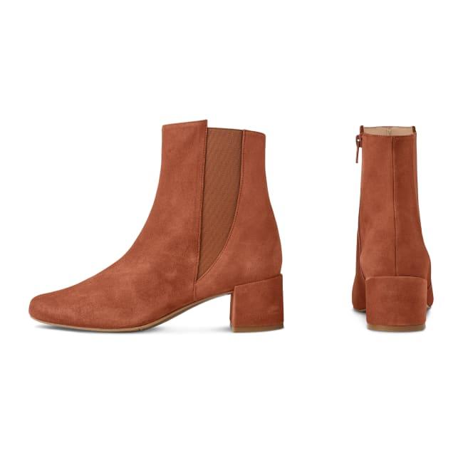 Stiefelette Karree Nubuk Cognac – modischer und bequemer Schuh für Hallux valgus und empfindliche Füße von LaShoe.de