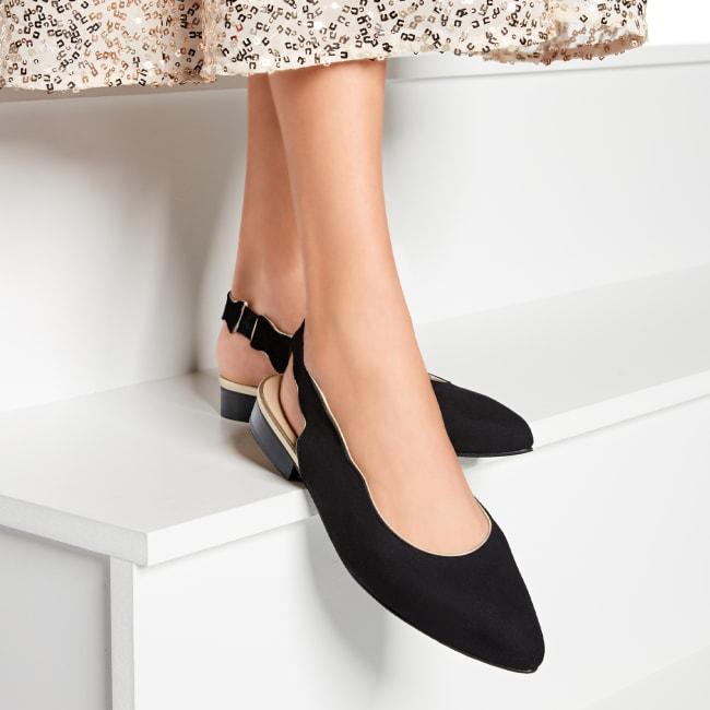 Sling Ballerina mit Goldrand Schwarz – modischer und bequemer Schuh für Hallux valgus und empfindliche Füße von LaShoe.de