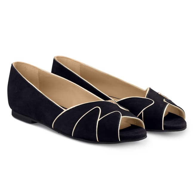 Peeptoe Ballerina mit Goldrand Schwarz – modischer und bequemer Schuh für Hallux valgus und empfindliche Füße von LaShoe.de
