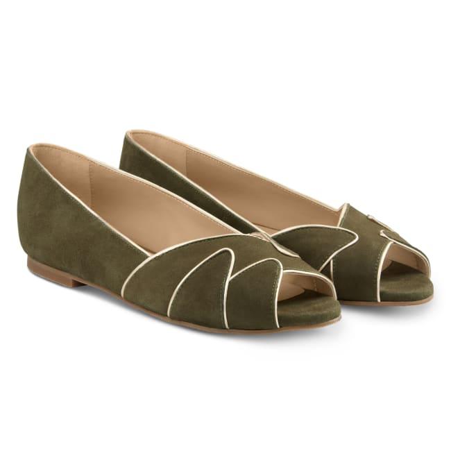 Peeptoe Ballerina mit Goldrand Khaki – modischer und bequemer Schuh für Hallux valgus und empfindliche Füße von LaShoe.de