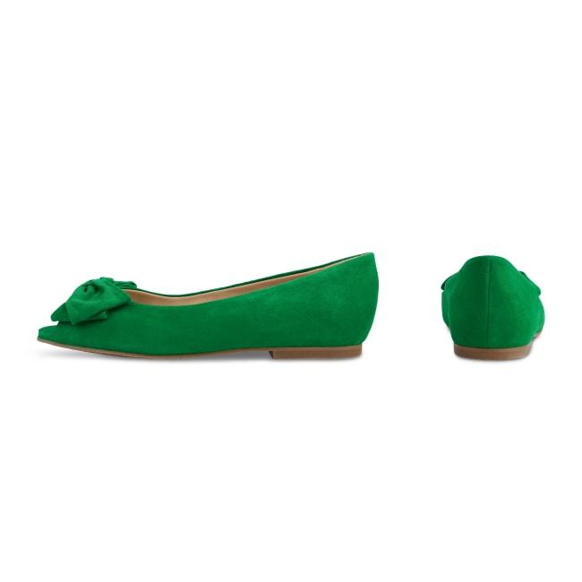 Peeptoe Ballerina mit Schleife Grün – modischer und bequemer Schuh für Hallux valgus und empfindliche Füße von LaShoe.de