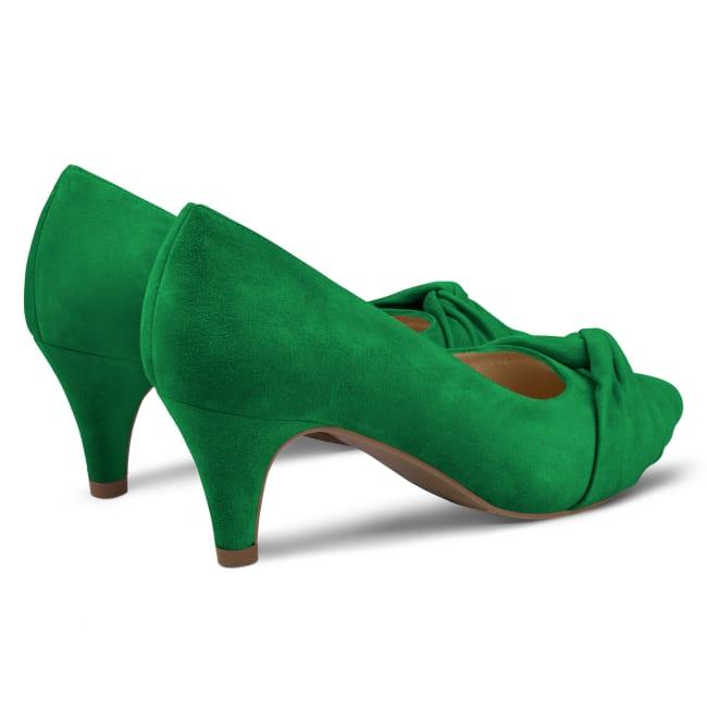 Pumps mit Knotendetail Grün – modischer und bequemer Schuh für Hallux valgus und empfindliche Füße von LaShoe.de