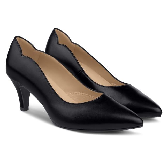 Pumps mit geschwungenem Ausschnitt Schwarz – modischer und bequemer Schuh für Hallux valgus und empfindliche Füße von LaShoe.de