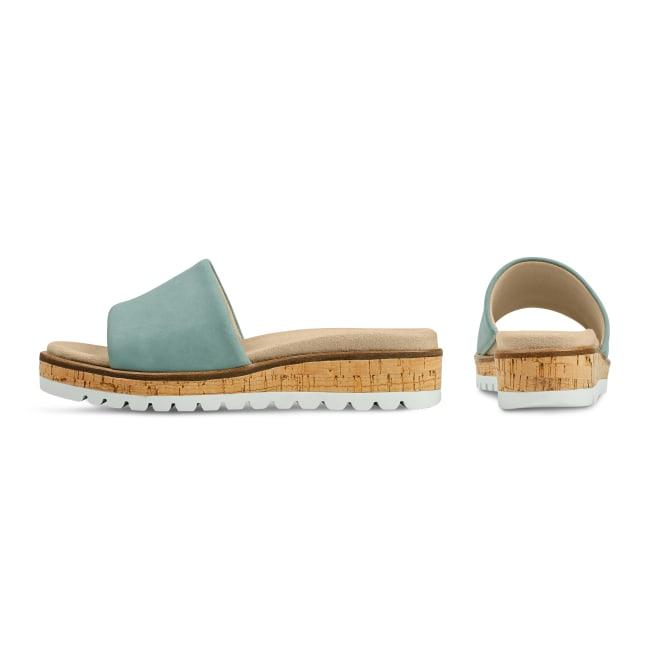 Pantolette mit Wechselfußbett Hellblau – modischer und bequemer Schuh für Hallux valgus und empfindliche Füße von LaShoe.de
