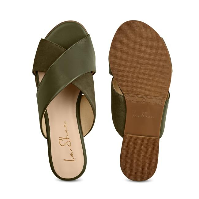 Pantolette Materialmix Khaki – modischer und bequemer Schuh für Hallux valgus und empfindliche Füße von LaShoe.de