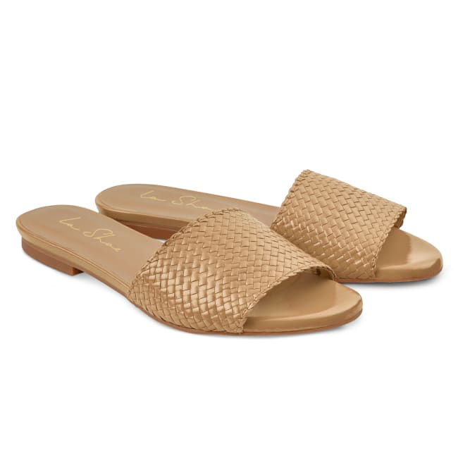 Pantolette mit geflochtenem Riemen Beige – modischer und bequemer Schuh für Hallux valgus und empfindliche Füße von LaShoe.de