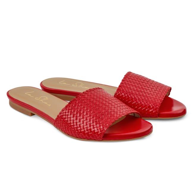 Pantolette mit geflochtenem Riemen Rot – modischer und bequemer Schuh für Hallux valgus und empfindliche Füße von LaShoe.de
