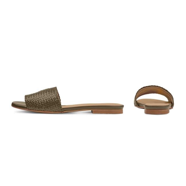Pantolette mit geflochtenem Riemen Khaki – modischer und bequemer Schuh für Hallux valgus und empfindliche Füße von LaShoe.de