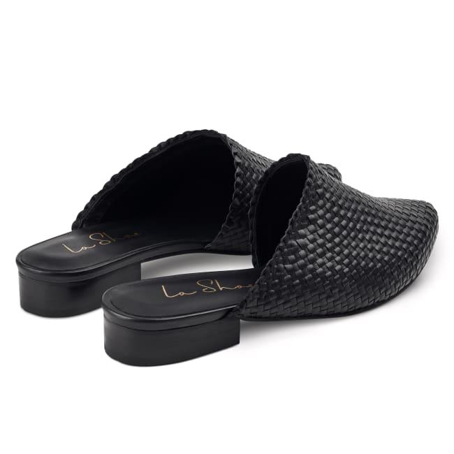 Premium Mule geflochten Schwarz – modischer und bequemer Schuh für Hallux valgus und empfindliche Füße von LaShoe.de