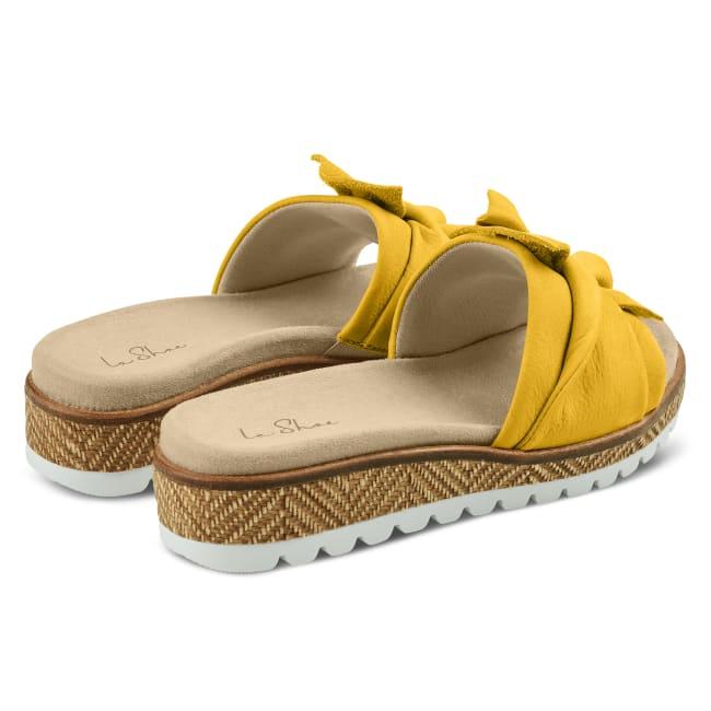 Pantolette mit Schleife Senfgelb – modischer und bequemer Schuh für Hallux valgus und empfindliche Füße von LaShoe.de